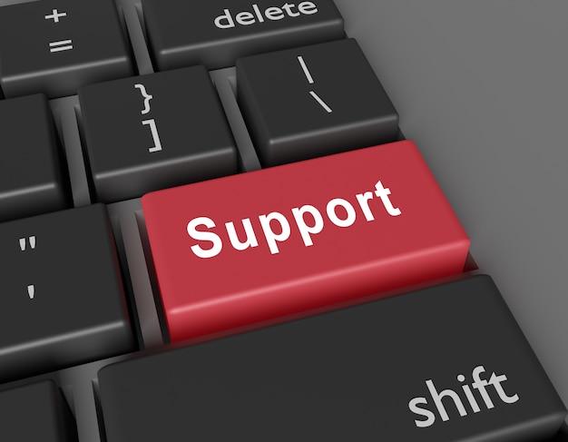 Concetto di supporto. supporto di word sul pulsante della tastiera del computer