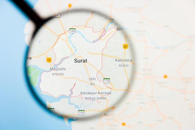 Concetto illustrativo di visualizzazione della città di surat sullo schermo tramite la lente d'ingrandimento