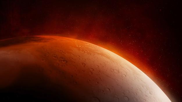 Superficie del primo piano del pianeta rosso marte.