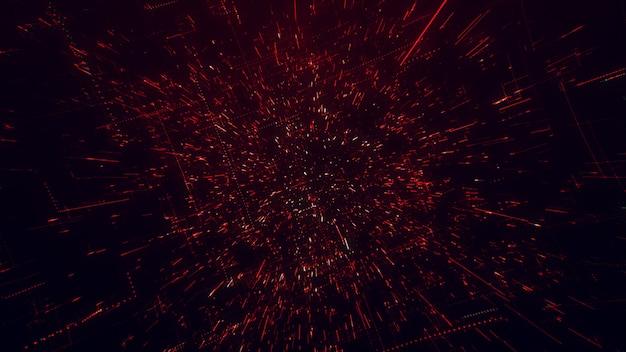 La superficie della tecnologia con linee di caos e griglia è un'immagine computerizzata astratta con aberrazioni cromatiche. arte digitale: un oscuro background tecnico, fantascientifico o fantascientifico. illustrazione 3d