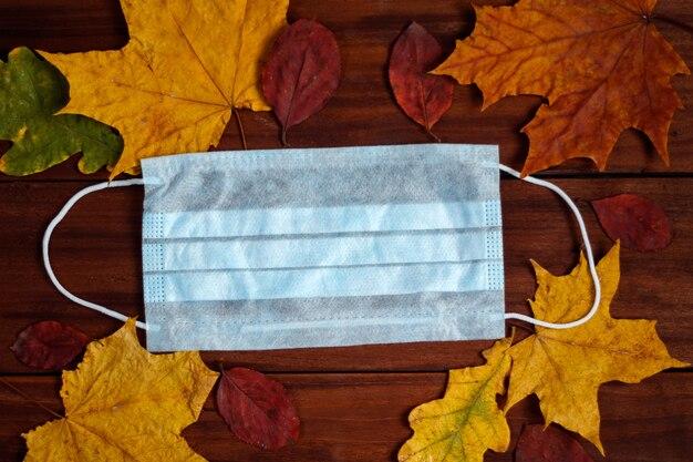 Maschera chirurgica su uno sfondo di foglie d'autunno. concetto di coronavirus.