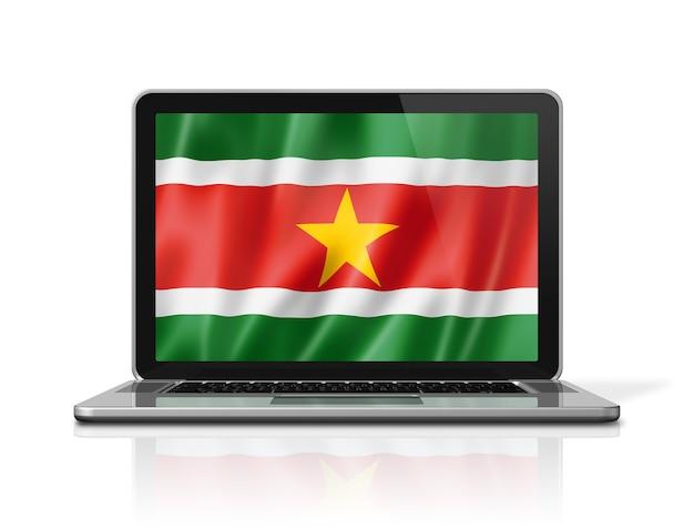 Bandiera del suriname sullo schermo del computer portatile isolato su bianco. rendering di illustrazione 3d.