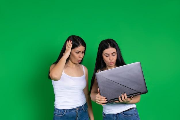 Donne gemelle sorprese in abiti casual guardano il computer portatile