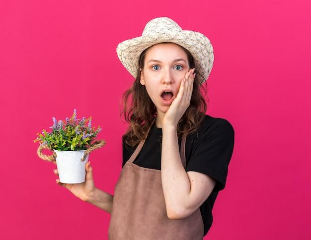 Sorpreso giovane giardiniere femminile che indossa cappello da giardinaggio tenendo il fiore in vaso di fiori mettendo la mano sulla guancia isolata sul muro rosa