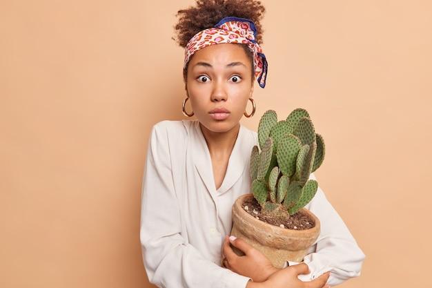 Sorpreso giovane modello femminile appassionato di giardinaggio si prende cura della pianta di casa tiene cactus in vaso ha un'espressione scioccata indossa una fascia di fazzoletto e una camicia bianca isolata sulla parete beige dello studio