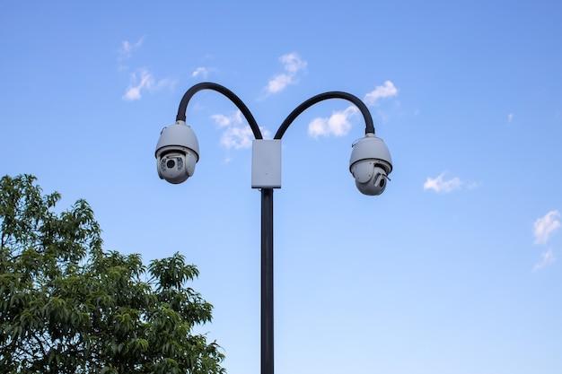 Telecamera di sorveglianza cctv (televisione a circuito chiuso) installata nel parco pubblico su sfondo azzurro del cielo per la protezione contro la criminalità, l'osservazione delle persone, il controllo del rispetto dell'ordine pubblico.