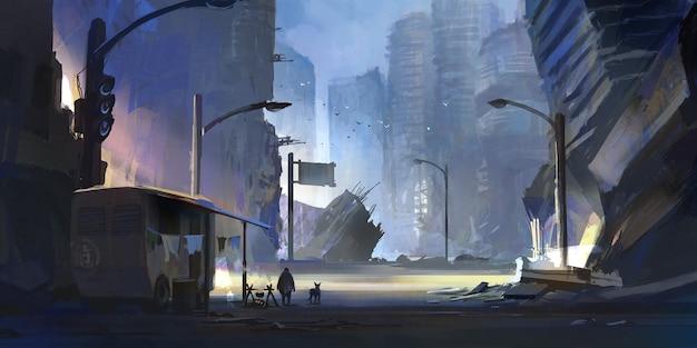 Gli esseri umani sopravvissuti nella città abbandonata, illustrazione digitale.