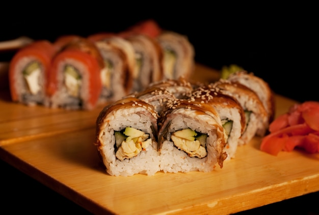 Sushi. rotoli. avvicinamento