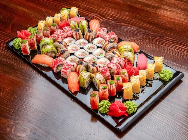 Sushi set maki sushi alaskan roll