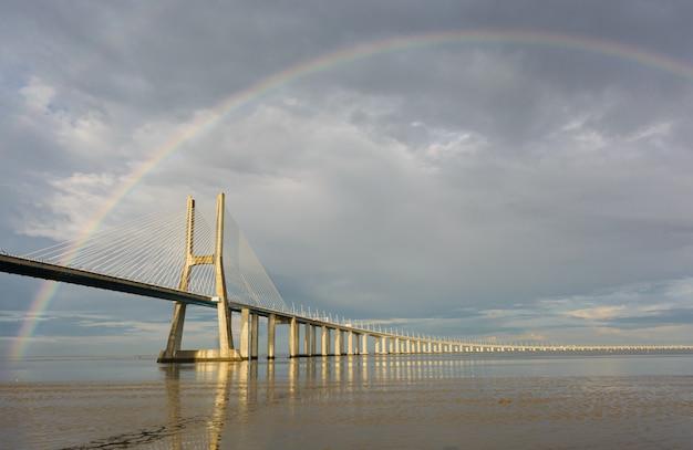 Ponte sospeso sotto l'arcobaleno