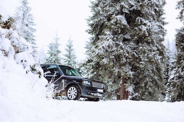 Auto suv nello spazio della copia della foresta innevata