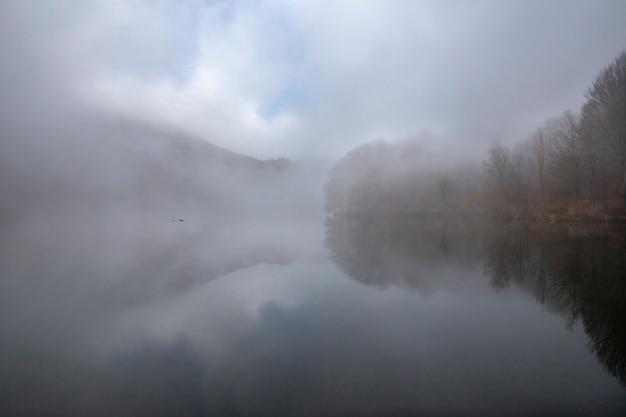 Palude di santa fe con nebbia, parco naturale di montseny