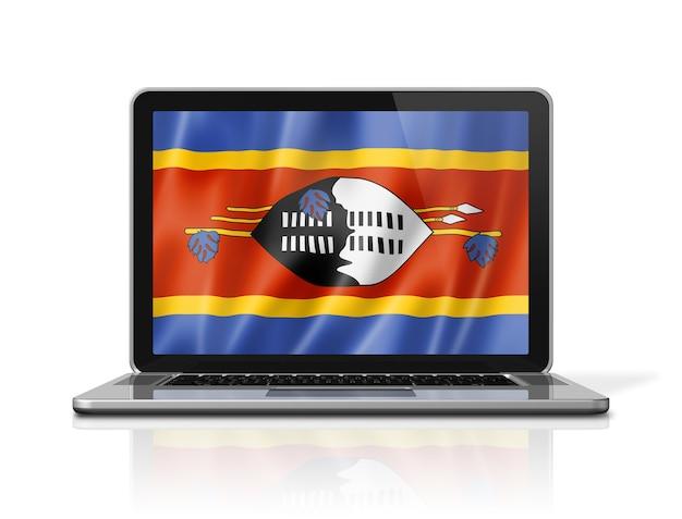 Bandiera dello swaziland sullo schermo del computer portatile isolato su bianco. rendering di illustrazione 3d.