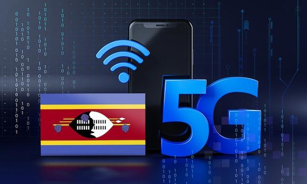 Swaziland pronto per il concetto di connessione 5g. sfondo di tecnologia smartphone rendering 3d