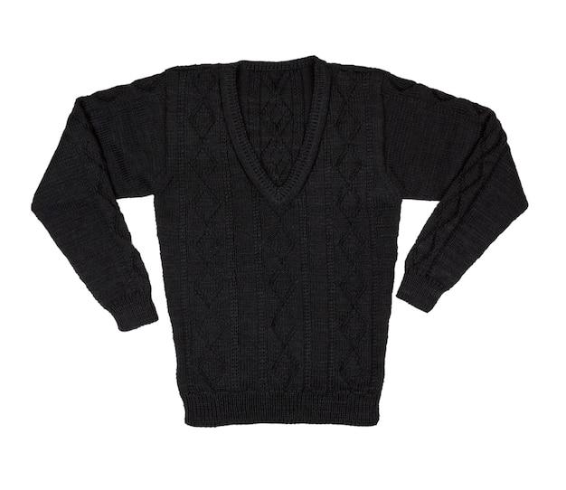 Maglione isolato su sfondo bianco. maglione lavorato a maglia maschile con un motivo. pullover caldo. maglione invernale.