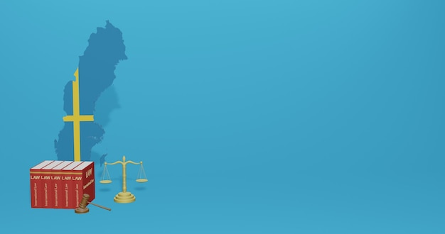 Legge svedese per le infografiche, i contenuti dei social media nel rendering 3d