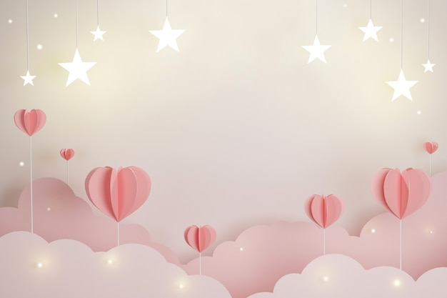 Cuore dolce e stella per il concetto di amore san valentino, copia spazio per pubblicità di testo, illustrazione 3d