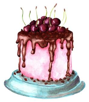 Dolce torta rosa con glassa al cioccolato e ciliegie succose su di essa illustrazione festiva ringraziamento