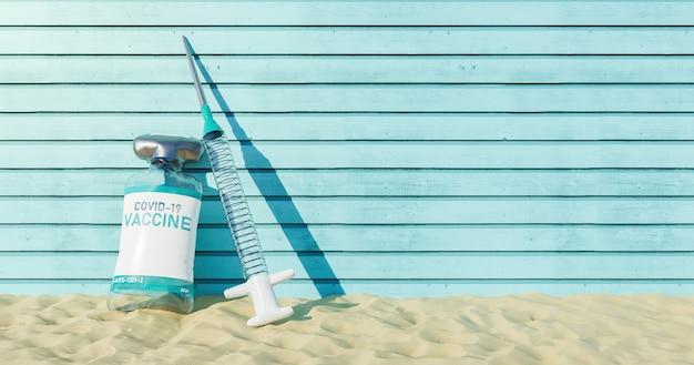 Galleggiante di nuotata con vaccino e forma di siringa sulla spiaggia di sabbia con fondo in legno