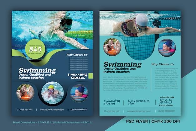 Modello psd del manifesto dell'opuscolo dell'opuscolo della concorrenza di nuoto