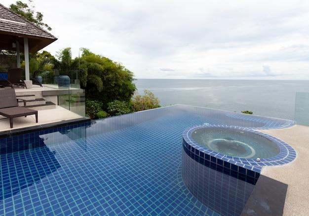 Piscina con vista sul mare delle andamane e cielo sereno sullo sfondo, concetto di sfondo vacanza estiva.
