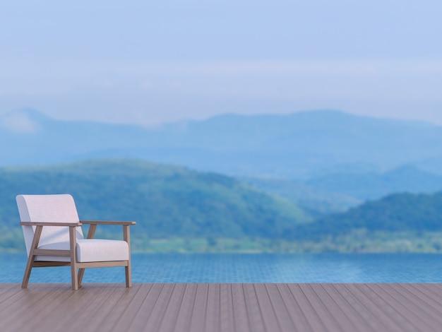 Terrazza della piscina con sfondo sfocato vista montagna 3d rendering, ci sono pavimenti in legno. arredato con sedia in tessuto bianco, focus sulla sedia, l'immagine è nei toni del blu come l'ora della sera.