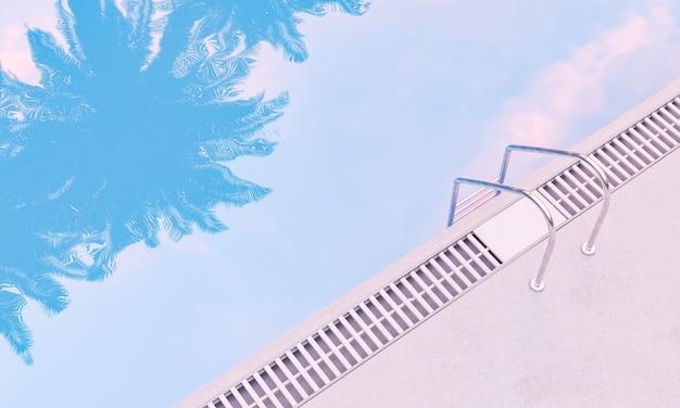 Piscina con riflessi di palme e scale in metallo. concetto di vacanza estiva. rendering 3d