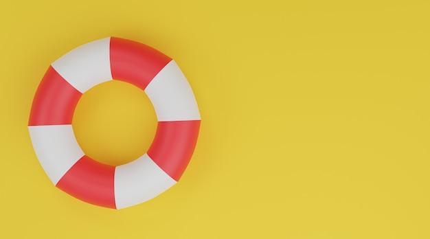 Anello di nuoto 3d, salvagente rosso e bianco su sfondo giallo