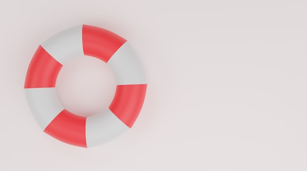 Anello di nuoto, salvagente rosso e bianco su sfondo bianco