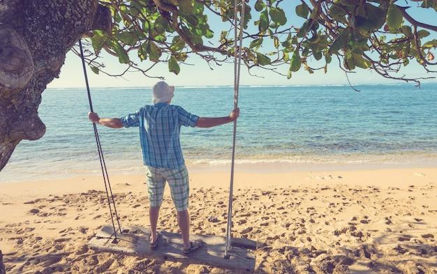 Oscilla sulla spiaggia hawaiana