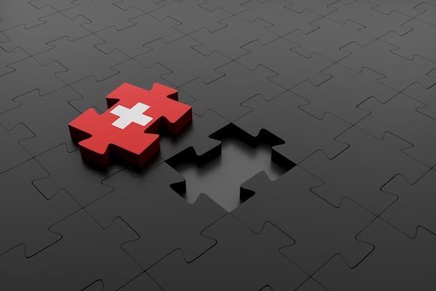 Pezzo di puzzle della bandiera svizzera separato dal resto dei pezzi. concetto di differenza e separazione della svizzera dall'unione europea. rendering 3d.