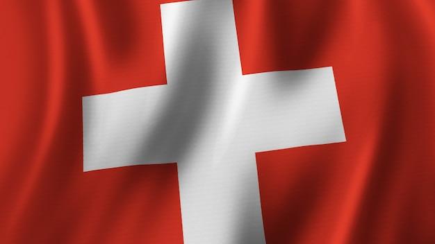 Rendering 3d del primo piano d'ondeggiamento della bandiera svizzera con immagine di alta qualità con struttura del tessuto