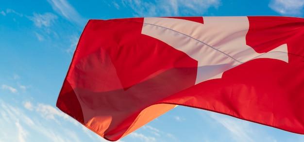 Bandiera della svizzera al vento, con il cielo azzurro sullo sfondo
