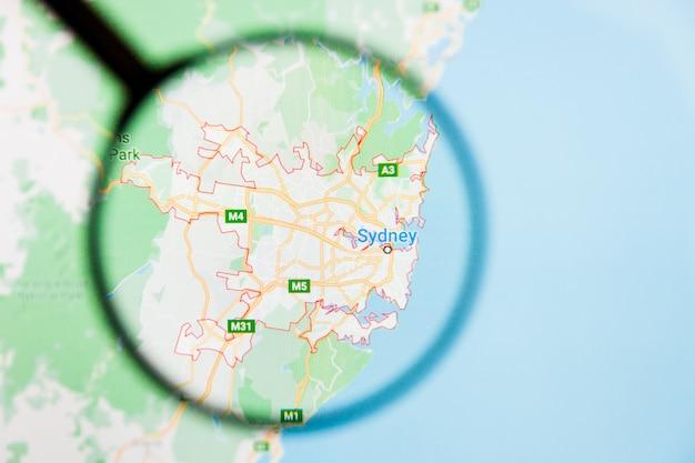 Concetto illustrativo di visualizzazione della città di sydney, australia sullo schermo tramite la lente d'ingrandimento