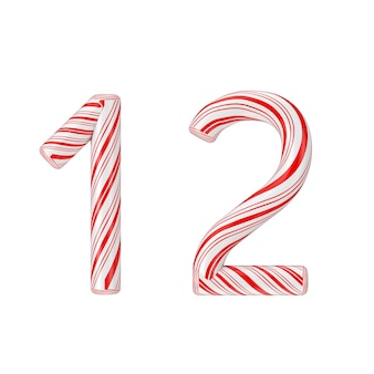 Simbolo 1 e 2 mint candy cane alphabet letters numbers collection striped in red christmas color su sfondo bianco. rendering 3d