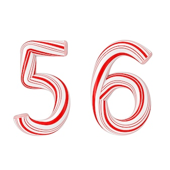 Simbolo 5 e 6 mint candy cane alphabet letters numbers collection striped in red christmas color su sfondo bianco. rendering 3d