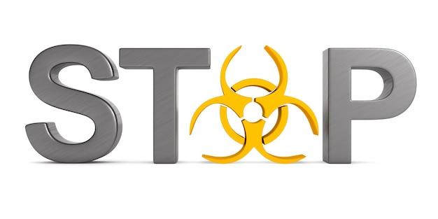 Simbolo di rischio biologico su bianco.