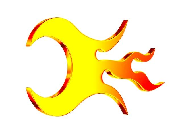 Fiamma di simbolo su priorità bassa bianca. illustrazione 3d isolata