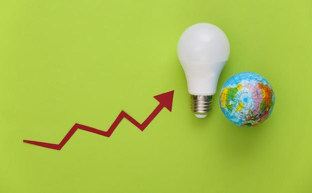 Il simbolo della modernizzazione del consumo energetico. eco, risparmia l'energia. globo e lampadina moderna con la freccia di crescita su green