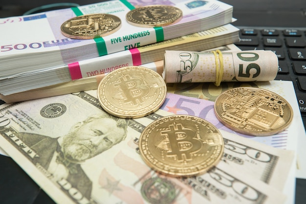 Immagine simbolica della valuta virtuale. concetto di business di criptovaluta in tutto il mondo.