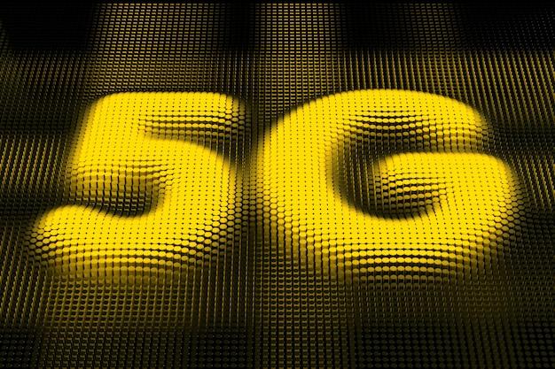 Simboli 5g dei pixel gialli su sfondo a matrice nera