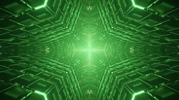 Simmetrica illustrazione 3d del tunnel verde astratto con ornamento incandescente di pannelli geometrici