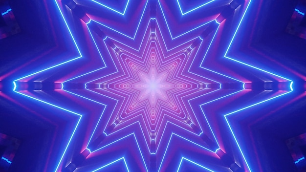 Simmetrica illustrazione 3d del tunnel astratto blu brillante con linee al neon che formano ornamento a forma di stella