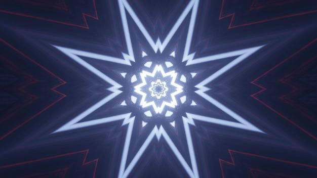 Illustrazione simmetrica 3d di linee luminose al neon incandescente e formanti ornamento a forma di stella astratta