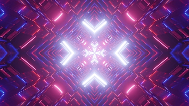 Illustrazione simmetrica 3d di linee al neon rosa e blu luminose che brillano e formano un tunnel con ornamento astratto