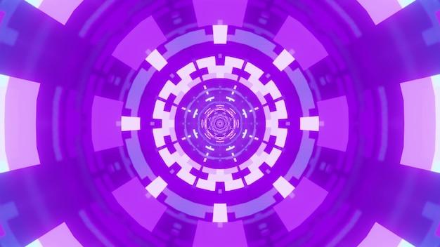Ornamento astratto simmetrico incandescente con vivida luce al neon di colore viola