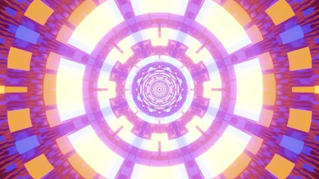 Tunnel astratto simmetrico formato con ornamento geometrico al neon luminoso