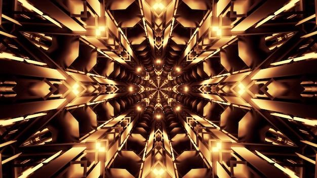 Tunnel astratto simmetrico con ornamento di cristallo incandescente con luce al neon dorata