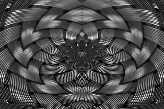 Primo piano di struttura di vimini metallico d'argento simmetrico. fondo del dettaglio della superficie d'acciaio del volume. cavo intrecciato grigio astratto nella macro. forma surreale con spazio di copia. insolito spazio bianco e nero.