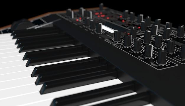 Sintetizzatore su sfondo nero vicino, 3d'illustrazione